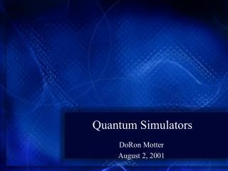 Quantum Simulators