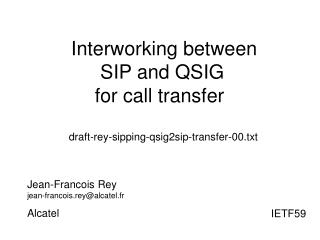 Interworking between  SIP and QSIG  for call transfer