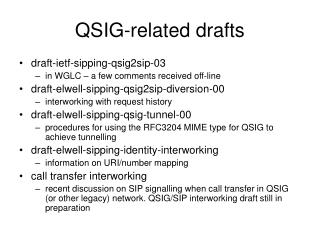 QSIG-related drafts