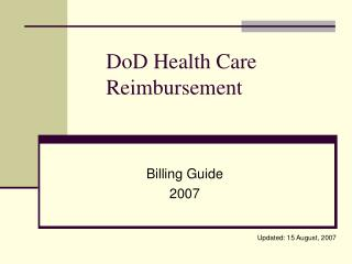 DoD Health Care Reimbursement
