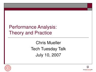 Performance Analysis: Theory and Practice