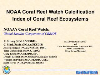 NOAA Coral Reef Watch Calcification Index of Coral Reef Ecosystems