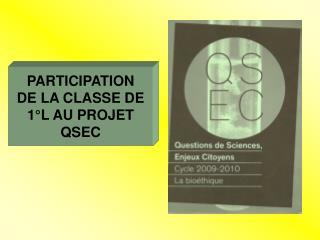 PARTICIPATION  DE LA CLASSE DE 1�L AU PROJET  QSEC