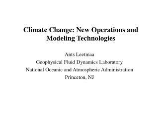 Climate Change: New Operations and Modeling Technologies