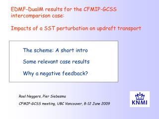 The scheme: A short intro Some relevant case results Why a negative feedback?