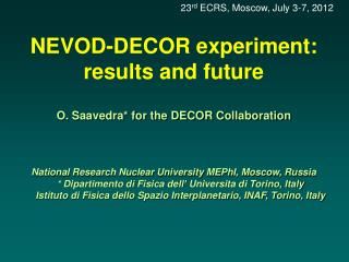 NEVOD-DECOR experiment: results and future