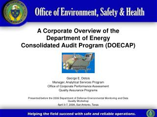 A Corporate Overview of the  Department of Energy  Consolidated Audit Program (DOECAP)