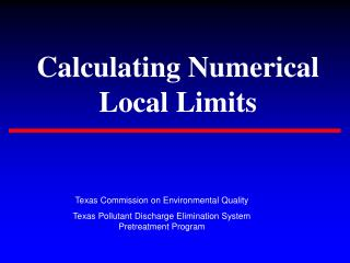 Calculating Numerical Local Limits