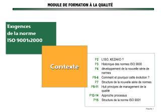 Exigences de la norme  ISO 9001:2000