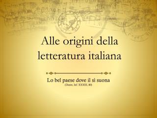 Alle origini della letteratura italiana