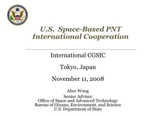 U.S.  Space-Based PNT International Cooperation