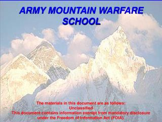 ARMY MOUNTAIN WARFARE SCHOOL
