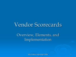 Vendor Scorecards