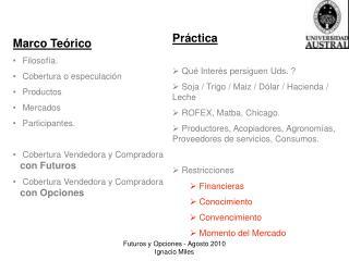 Marco Teórico  Filosofía.   Cobertura o especulación  Productos  Mercados  Participantes.