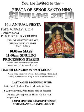 You are Invited to the… FIESTA OF SENOR SANTO NINO