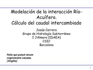 Modelaci�n de la interacci�n R�o-Acu�fero. C�lculo del caudal intercambiado