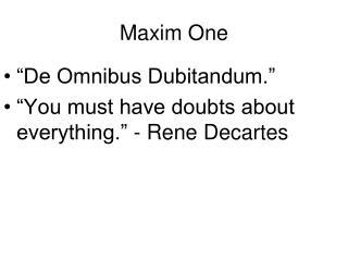 Maxim One