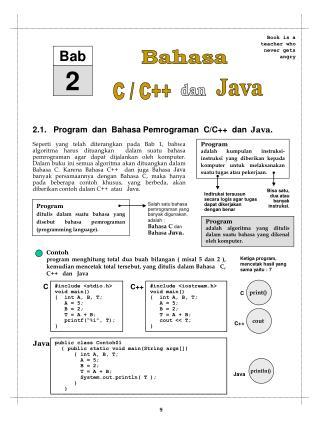 2.1.   Program  dan  Bahasa Pemrograman  C/C++  dan   Java .