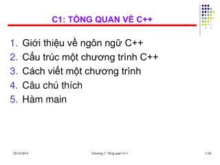 C1: TỔNG QUAN VỀ C++