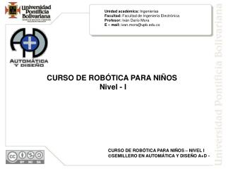 CURSO DE ROBÓTICA PARA NIÑOS  Nivel - I