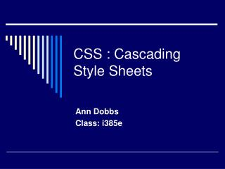CSS : Cascading Style Sheets