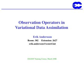 Observation  Operators in Variational Data Assimilation