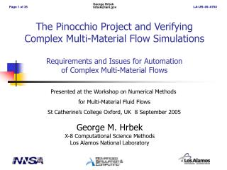 George M. Hrbek X-8 Computational Science Methods Los Alamos National Laboratory