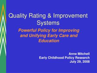Quality Rating & Improvement Systems