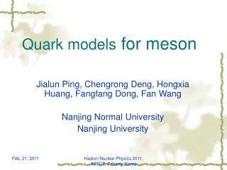 Quark models  for meson