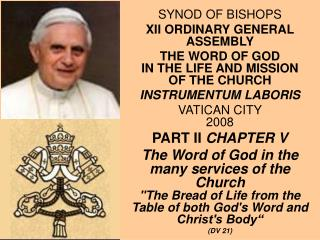 SYNOD OF BISHOPS XII ORDINARY GENERAL ASSEMBLY
