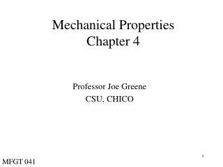 Mechanical Properties Chapter 4