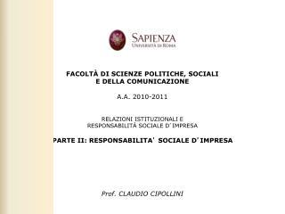PARTE II: RESPONSABILITÀ SOCIALE D ' IMPRESA