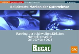 Ranking der reichweitenstärksten  Herstellermarken Juli 2007-Juni 2008