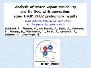Analysis of water vapour variability  and its links with convection: