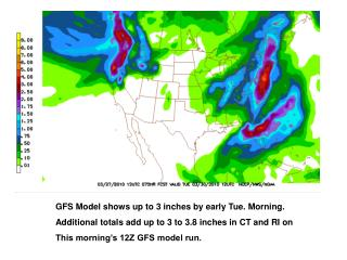GFS Model shows up to 3 inches by early Tue. Morning.