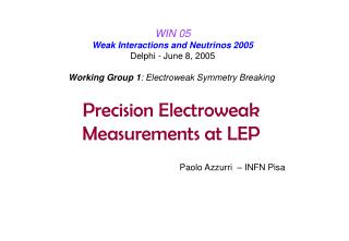 Precision Electroweak  Measurements at LEP