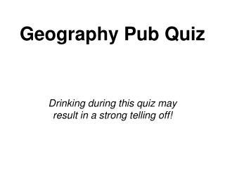 Geography Pub Quiz