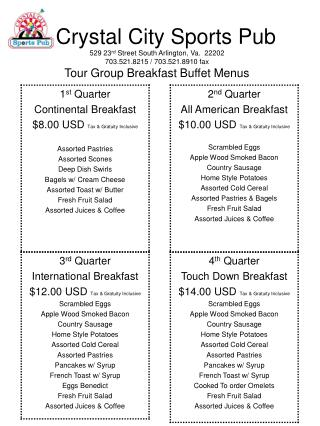 Tour break menu