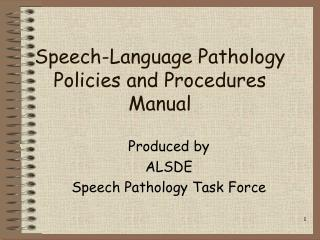 Speech-Language Pathology Policies and Procedures Manual