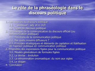 Le rôle de la phraséologie dans le discours politique