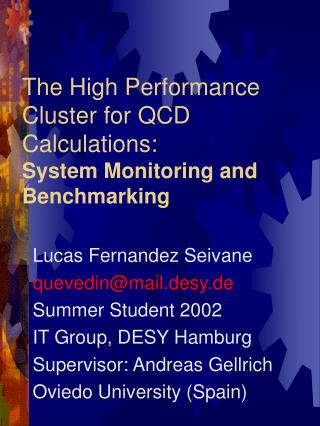 The High Performance Cluster for QCD Calculations: System Monitoring and Benchmarking