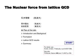 The Nuclear force from lattice QCD