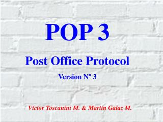 POP 3 Post Office Protocol Version Nº 3
