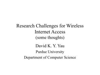 Research Challenges for Wireless Internet Access