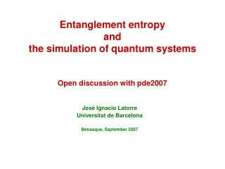 Entanglement entropy and the simulation of  quantum  systems Open discussion with pde2007