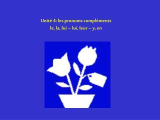 Unité 4: les pronoms compléments le, la, lui – lui, leur – y, en