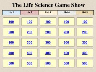 The Life Science Game Show