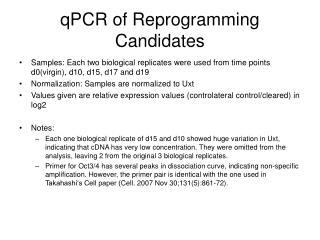qPCR of Reprogramming Candidates