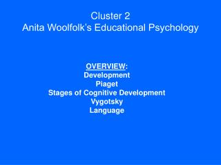 Cluster 2 Anita Woolfolk s Educational Psychology
