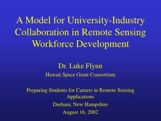 A Model for University-Industry Collaboration in Remote Sensing Workforce Development